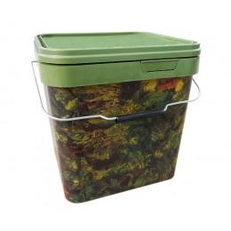 Ведро для прикормки Квадратное с крышкой 17 литров Gardner  - Square Camo Buckets Large